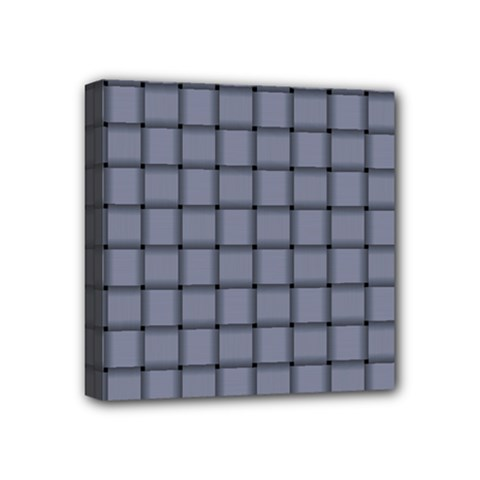 Cool Gray Weave Mini Canvas 4  x 4  (Framed)