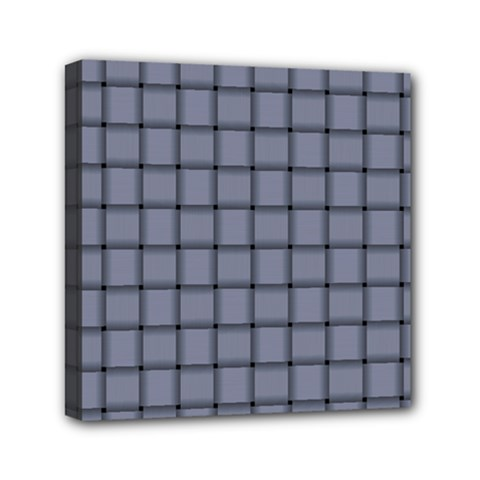Cool Gray Weave Mini Canvas 6  X 6  (framed)