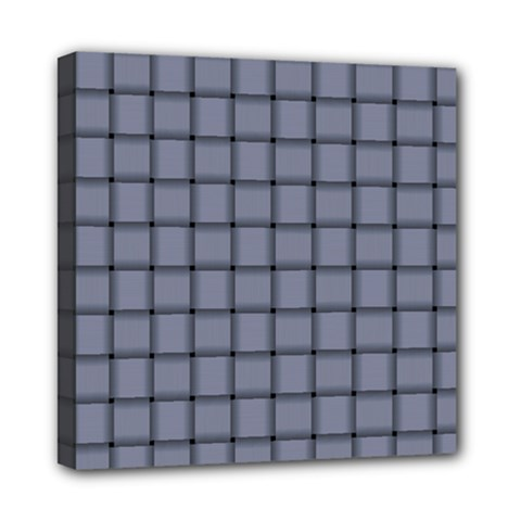 Cool Gray Weave Mini Canvas 8  x 8  (Framed)