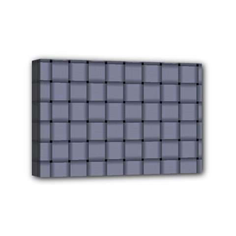 Cool Gray Weave Mini Canvas 6  X 4  (framed)