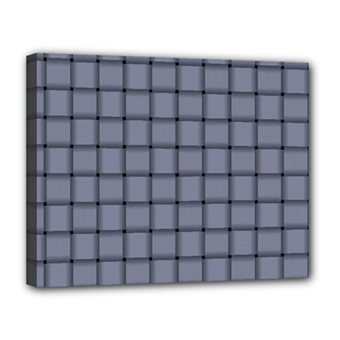 Cool Gray Weave Canvas 14  x 11  (Framed)