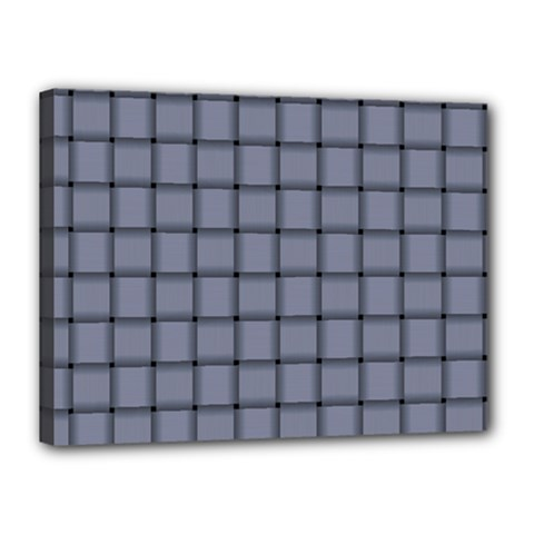 Cool Gray Weave Canvas 16  x 12  (Framed)
