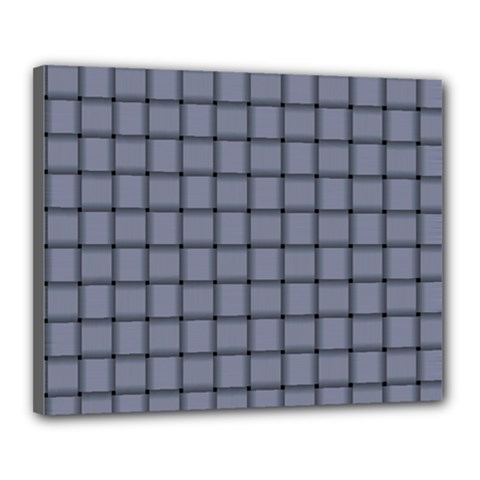 Cool Gray Weave Canvas 20  x 16  (Framed)