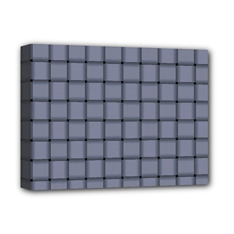 Cool Gray Weave Deluxe Canvas 16  X 12  (framed)
