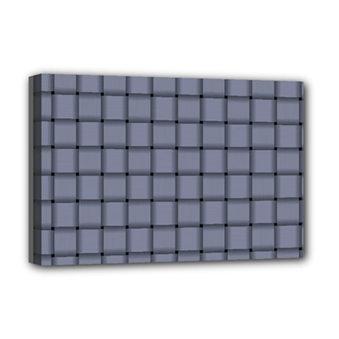 Cool Gray Weave Deluxe Canvas 18  x 12  (Framed)