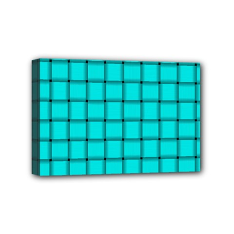 Cyan Weave Mini Canvas 6  x 4  (Framed)