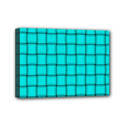 Cyan Weave Mini Canvas 7  x 5  (Framed)