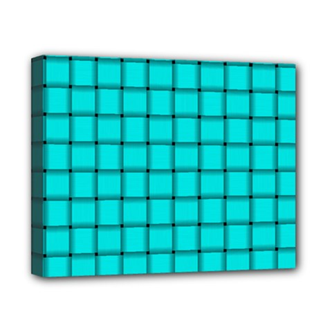 Cyan Weave Canvas 10  X 8  (framed)