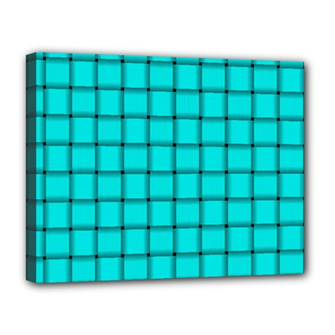 Cyan Weave Canvas 14  x 11  (Framed)
