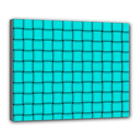Cyan Weave Canvas 20  x 16  (Framed)