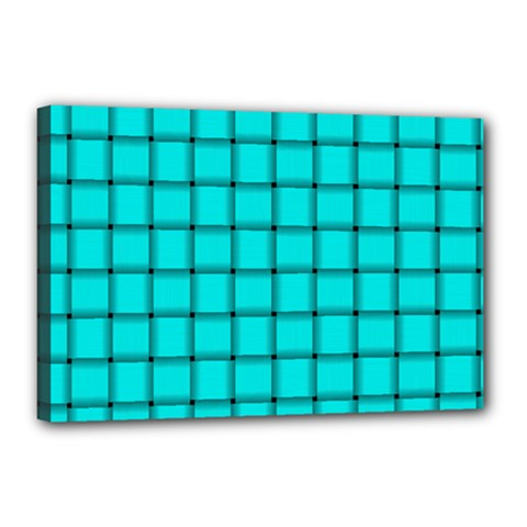 Cyan Weave Canvas 18  x 12  (Framed)