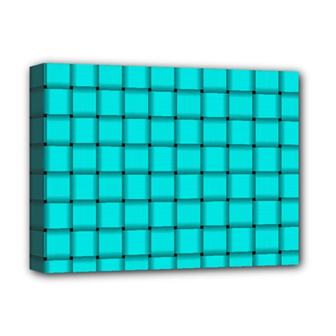 Cyan Weave Deluxe Canvas 16  x 12  (Framed)