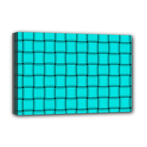Cyan Weave Deluxe Canvas 18  x 12  (Framed)
