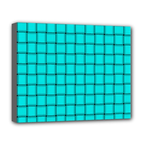 Cyan Weave Deluxe Canvas 20  x 16  (Framed)