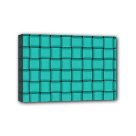 Turquoise Weave Mini Canvas 6  x 4  (Framed)