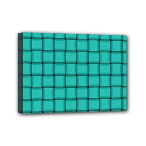 Turquoise Weave Mini Canvas 7  x 5  (Framed)