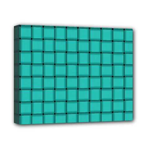 Turquoise Weave Canvas 10  X 8  (framed)