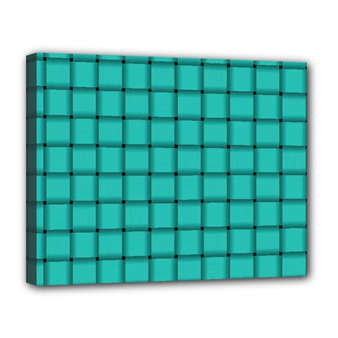 Turquoise Weave Canvas 14  X 11  (framed)