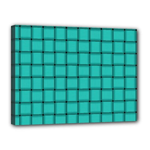 Turquoise Weave Canvas 16  X 12  (framed)