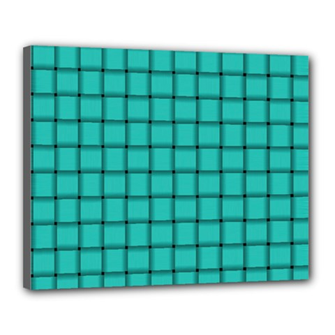 Turquoise Weave Canvas 20  X 16  (framed)