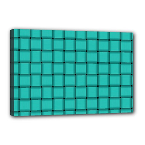 Turquoise Weave Canvas 18  X 12  (framed)