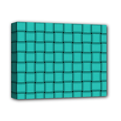 Turquoise Weave Deluxe Canvas 14  x 11  (Framed)