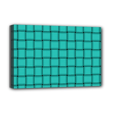 Turquoise Weave Deluxe Canvas 18  x 12  (Framed)