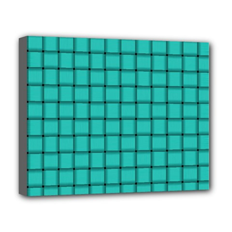 Turquoise Weave Deluxe Canvas 20  X 16  (framed)