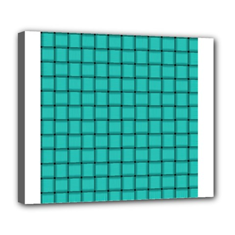 Turquoise Weave Deluxe Canvas 24  X 20  (framed)