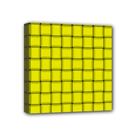 Yellow Weave Mini Canvas 4  x 4  (Framed)
