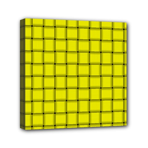 Yellow Weave Mini Canvas 6  x 6  (Framed)