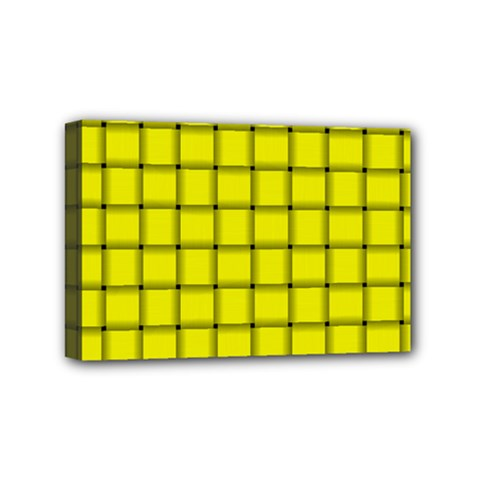 Yellow Weave Mini Canvas 6  x 4  (Framed)