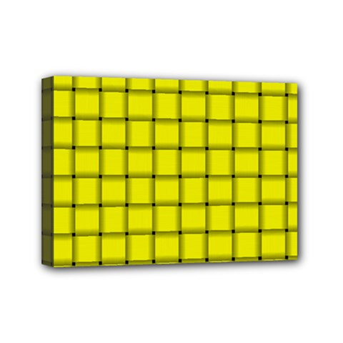 Yellow Weave Mini Canvas 7  x 5  (Framed)