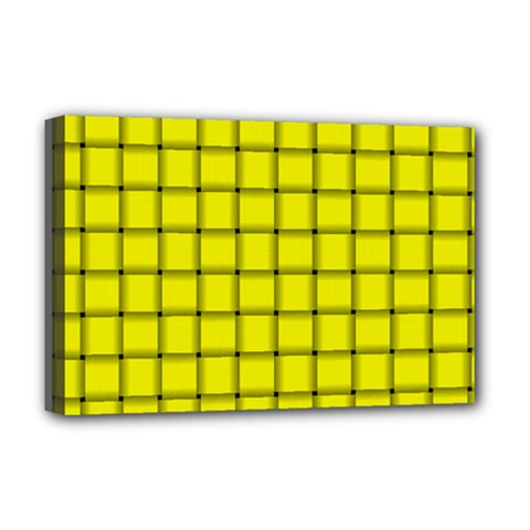 Yellow Weave Deluxe Canvas 18  x 12  (Framed)