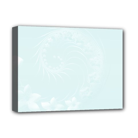 Pastel Blue Abstract Flowers Deluxe Canvas 16  x 12  (Framed)