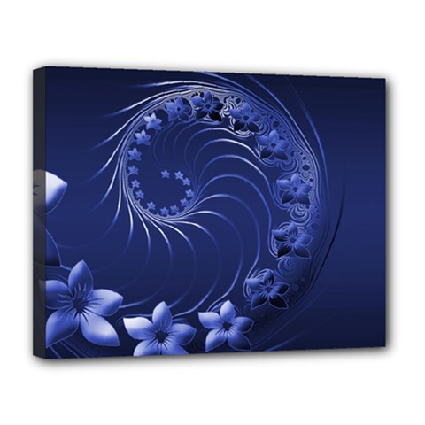 Dark Blue Abstract Flowers Canvas 14  x 11  (Framed)