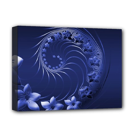 Dark Blue Abstract Flowers Deluxe Canvas 16  x 12  (Framed)