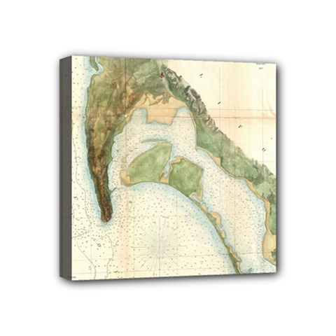 Vintage Map Of The San Diego Bay (1857) Mini Canvas 4  X 4  (framed)