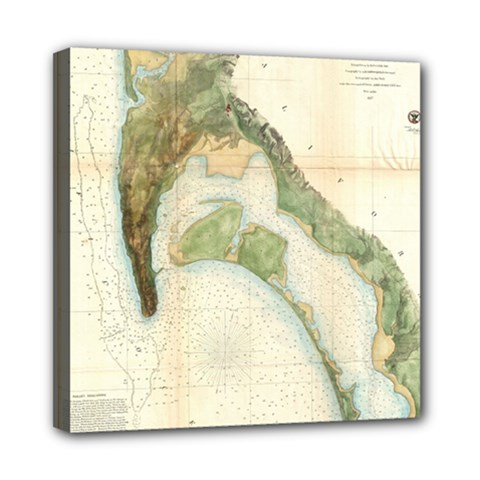 Vintage Map Of The San Diego Bay (1857) Mini Canvas 8  x 8  (Framed)