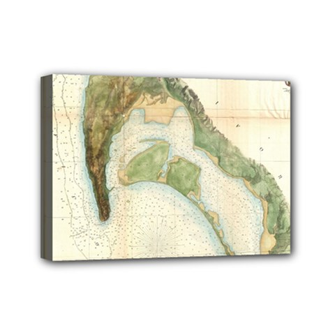 Vintage Map Of The San Diego Bay (1857) Mini Canvas 7  x 5  (Framed)