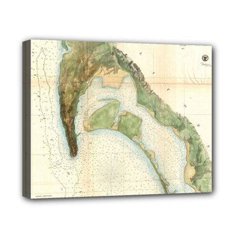 Vintage Map Of The San Diego Bay (1857) Canvas 10  X 8  (framed)