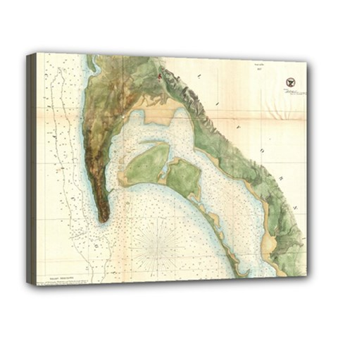 Vintage Map Of The San Diego Bay (1857) Canvas 14  x 11  (Framed)