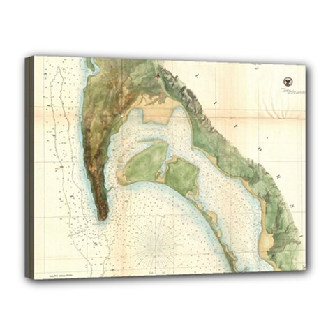 Vintage Map Of The San Diego Bay (1857) Canvas 16  x 12  (Framed)