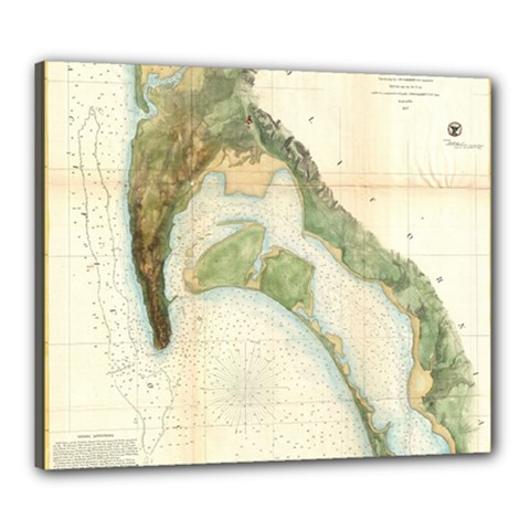 Vintage Map Of The San Diego Bay (1857) Canvas 24  X 20  (framed)