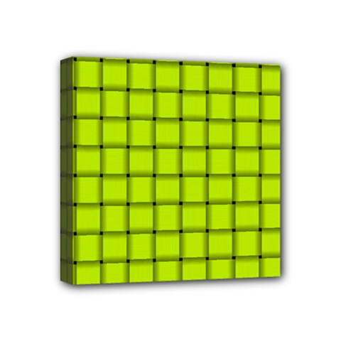 Fluorescent Yellow Weave Mini Canvas 4  X 4  (framed)