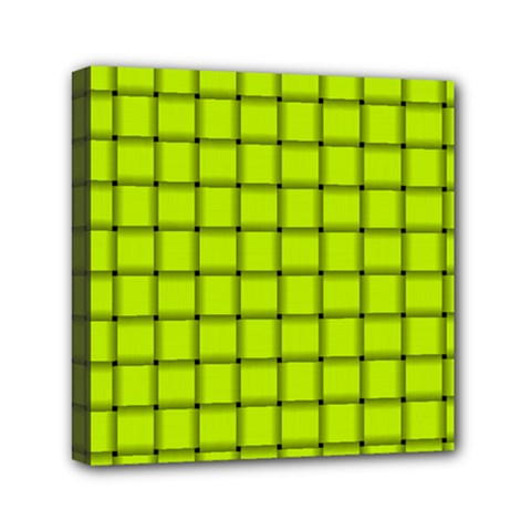 Fluorescent Yellow Weave Mini Canvas 6  X 6  (framed)