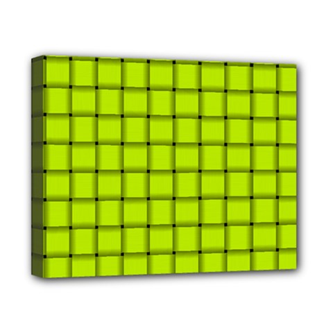 Fluorescent Yellow Weave Canvas 10  x 8  (Framed)
