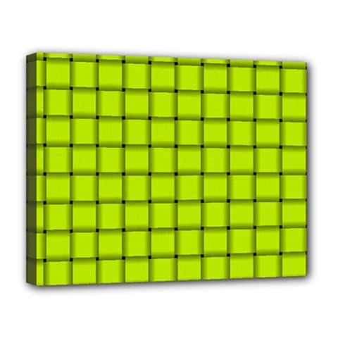 Fluorescent Yellow Weave Canvas 14  X 11  (framed)