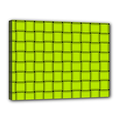 Fluorescent Yellow Weave Canvas 16  X 12  (framed)