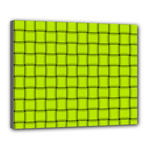 Fluorescent Yellow Weave Canvas 20  x 16  (Framed)